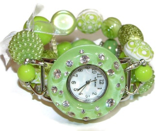 Just Mint for You Chunky Beaded Watch - Interchangeable Watch - BeadsnTime - Apple Watch Band - Bracelet Watch - Unique Watch - Perect Gift