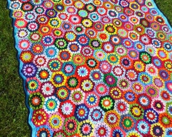 Multicolor crochet AFGHAN - FloWer~PoWer BLaNKET - colorful GrannY SquarE Blanket - MADE to ORDER