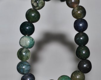 Green Aventurine /Moss Agate   stretchable  bracelet  8271