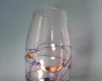 Vintage Murano Italian clear blown glass vase