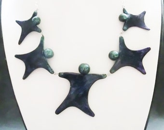 Joyful metallic 5 dancing puppets necklace/ polymer clay puppets holding hands/ different possibilities