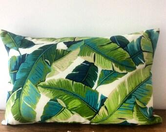 Tropical palm leaf print lumbar cushion cover 50cm x 30cm