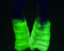 LED Light up Fluffies Glow in the Dark Leg Warmers UV Reactive Fluffy leggings Burning Man Halloween Costume Idea New Years Eve Christmas