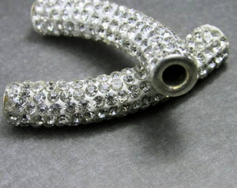 White Rhinestone Tube Polymer Pave Connector, Pave Tube, Sideways Connector