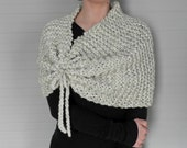 Knit Wool Shawl Caplet Bridal Shawl Bolero Cowl || The Talcott || Wheat