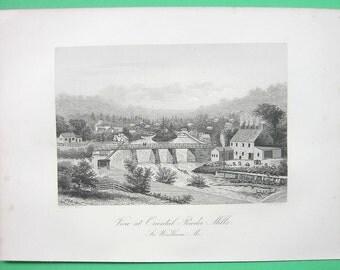 MAINE South Windham View of Oriental (Gun) Powder Mills  - 1876 Antique Print Engraving