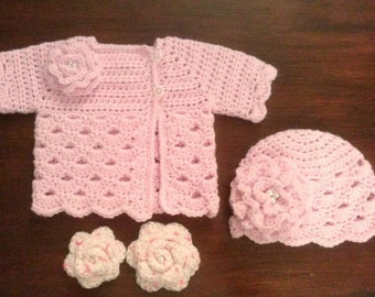 Crocheted Baby Girl's Sweater Set Pink Baby Sweater and Hat Set Baby Girl's  Sweater and Hat with 2 Sets of Coordinating Flowers