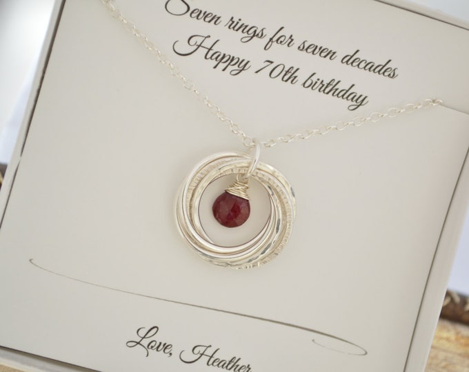 70th Birthday gift for mom, 70th Birthday for women, Ruby birthstone jewelry, 7 Interlocking rings necklace