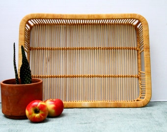 Vintage Rattan Large Woven Tray Kitchen Decor Serving Franco Albini Rectangle Natural Color