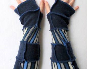 Texting Gloves - Gypsy Clothing - Gauntlets - Fingerless Gloves - Recycled Sweater Gloves - Arm Gloves - Blue Fingerless Gloves - Sleeves