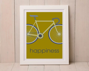 Happiness Road Bike Graphic Print, Gift for Cyclist, Gift for Road Biker