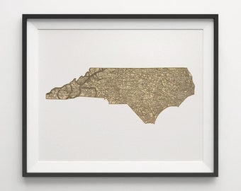 North Carolina Map Art Print Old Antique Map Archival Reproduction - Unframed