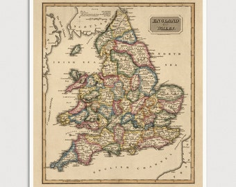 Old England Map Art Print 1817 Wales Antique Map Archival Reproduction