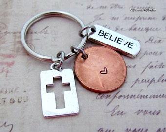 Believe Cross Charm Lucky Penny Keychain, Heart  Lucky Penny, Believe Tag Cross Keychain