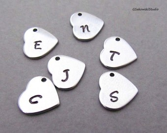 Add on stainless steel hand stamped initial heart charm