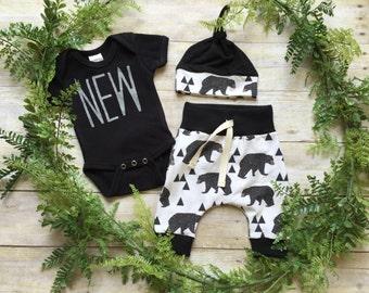 Newborn Boy Take Home Outfit / Newborn Boy Coming Home Outfit / Newborn Baby Bear Outfit // Baby Bear Clothing Set // Preemie Clothes Boy /