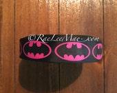 "Batman ribbon 1"" 25mm/grossgrain Bat girl Inspired ribbon/hot pink, black batman hair bow ribbon/black, hot pink batman logo ribbon/super"
