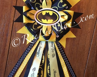 Batman Baby Shower corsage/Mommy-To-Be corsage, batman Theme Baby Shower/Baby Shower corsage/super hero baby shower/superman ribbon/batman
