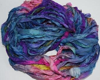 Recycled Sari Silk Ribbon Yarn,3.5 oz / 100 grams, 60 yards Bulky,Bright Blue Pink