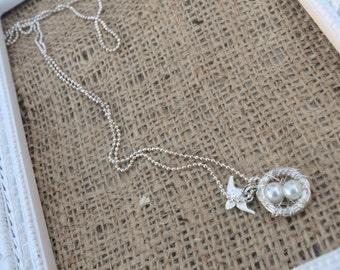 Mama bird necklace, birds nest necklace, chain necklace, mama bird charms, bird charms, birds nest charm, mama birds nest necklace charm