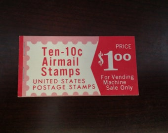Vintage Book of 10 Cent Airmail Stamps