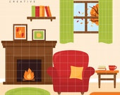 SALE! Fall, Autumn, Fireplace, Cute Clipart, Personal & Small Commercial Use, Vector Clip Art, Instant Download, png, jpeg, eps