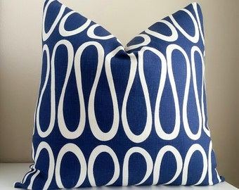 Kravet - Jonathan Adler Indigo - Navy Pillow Cover All sizes available- Indigo Pillow -Decorative, Accent & Throw Pillow cover,