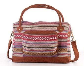 Gold Southwestern Holiday Bag, Travel Bag, Suitcase, Overnight Bag, Getaway bag, Vacation Bag Latin textile