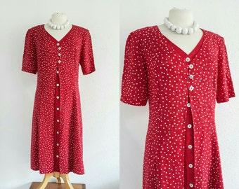 Vintage 1980s Red & White Polka-dot Tea Dress EU 44 UK 14 Retro