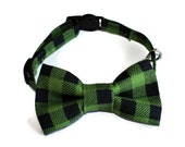 Adjustable Cat Collar with Matching Bow Tie, Breakaway Clasp, Safety Buckle, Green Plaid, Checks, Black, Christmas Bowtie, Cat Fashion