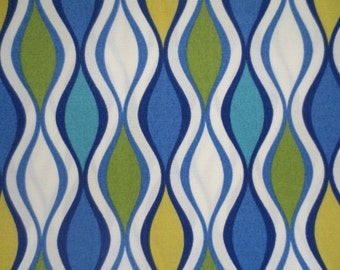 OUTDOOR Pillow Cover in a Blue, Lime Green Geometric Print / Blue Pillow Cover