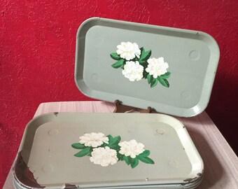 11 Vintage Chippy Metal Enamel Floral Trays