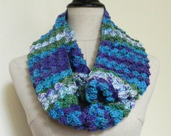 Hand crochet infinity scarf, shades of blue, purple, and green, multicolor cowl Woodland cluster #469, ready to ship