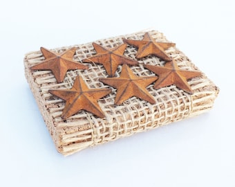 Set of 6 Metal Patina Rustic Stars Push pins, thumb tacks