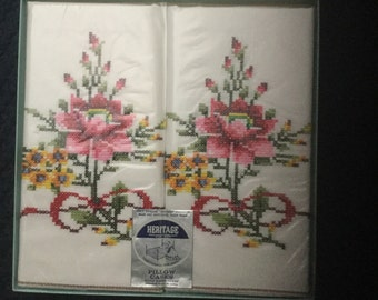 Vintage Heritage Cross Stitched Pillowcases