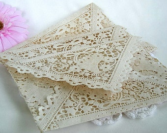 Rustic Lace Doily Envelopes Wedding Tea Stain Invitation Handmade Vintage Paper Doily Lace Envelope Wedding Invitaion Doily Paper Lace