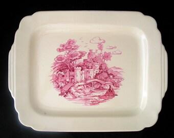 Homer Laughlin Old English Scene Platter 11 7/8 Inch Oval Serving Platter Vintage 1930s