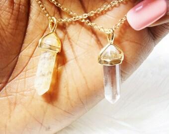 "Tiny Gold ""Krystal"" Pendant Necklace - Dainty, Simple, Birthday Gift, Wedding Bridesmaid Gift"
