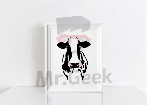 Black Cow Wall Decor : Black and white farm cow wall art decor printable