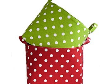 SALE - Holiday Gift Basket, Polka Dot Storage Basket, Christmas Gift Basket, Red or Green, 2 Color Options