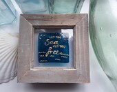 Hand painted glass photo frame sea nautical