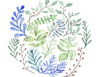"""Original Watercolor Painting """" Winter Circle"""""""