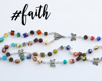Contemporary Handmade Rosary--Hand Beaded Modern Rosary--Repurposed--Butterflies--Catholic--One of a Kind--Boho--Prayer--Hippie Style--Hope
