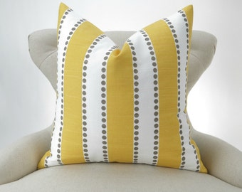 Yellow Stripe Floor Pillow up to 28x28 inch LuLu Decorator Pillow Cover same fabric front and back FREE SHIP