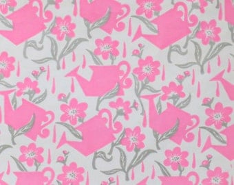 Vintage MOD SHOWER - Wrapping Paper - Gift Wrap - Bright PINK Watering Cans with Flowers - 1960s