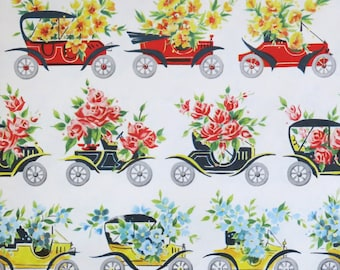 Vintage All-Occasion Gift Wrap - Wrapping Paper - Springtime Delivery - Antique AUTOS - with Coordinating GIFT CARD - 1950s