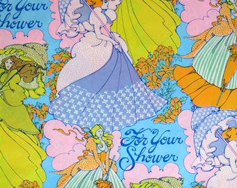 Vintage American Greetings Bridal SHOWER Gift Wrap - Wrapping Paper - FLOWER POWER - 1960s
