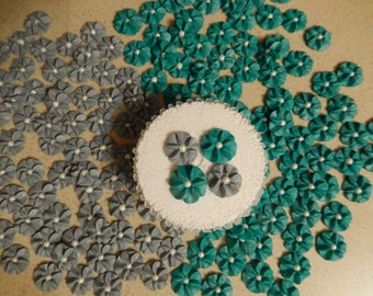100 Teal & Gray Royal Icing Drop Flowers Edible for cupcakes,cakes, cookies, cakepops