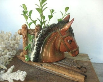 Horse Head Wall Pocket Planter Vintage Tilso Equestrian Horse Lovers Gift Ceramic Figurine