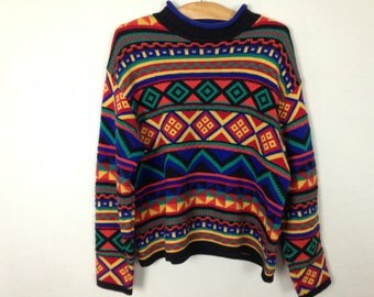 90s colorful cute sweater size L